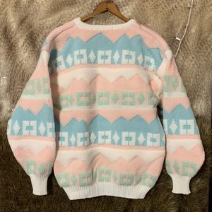 Vintage Pastel Snow Bunny Sweater